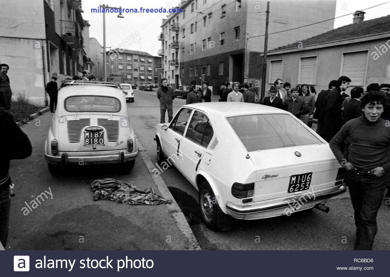 Milano 19 Aprile 1979. Barona. Via Modica angolo Via Santa Rita da Cascia. Luogo dell'agguato mortale a danno dell'agente DIGOS Andrea Cammpagna (esecuzione PAC, Proletari Armati per il Comunismo).