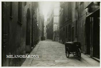 Milano 1939 , Borgonuovo. Via Gastone Pisoni (ex Vicolo Tignoni). (fonte: web fotografieincomune)