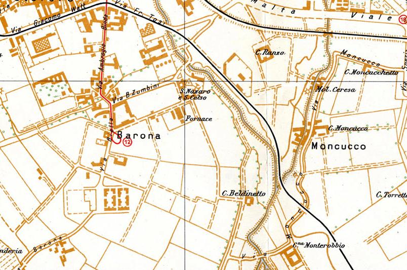 Tracciato originario Via Moncucco (1937). Questo tracciato era ancora intatto nel 1962/63 e non terminava in corrispondenza dello scolmatore Olona iin corrispondenza del punto attuale.