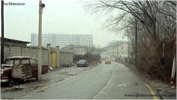 Via Moncucco nel 1973 (dal Film Baba Yaga). La via, già ampliata dopo la realizzazione di Viale Famagosta, si accostava al lato Ovest del Palazzo Coop Lombardia per terminare nella Via Santander.