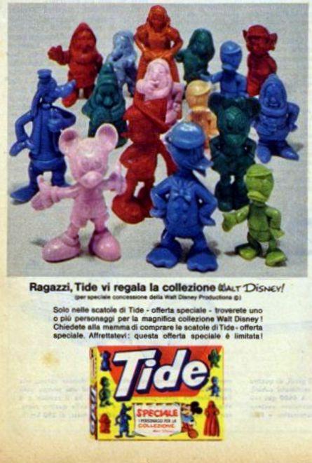 """Pubblicità per carta stampata detersivo Tide e """"gadget"""" in omaggio della collezione Disney. I pupazzetti erano prodotti dalla CO-MA di Via Ettore Ponti 12."""