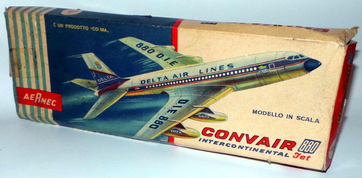 Scatola di assemblaggio modellino in scala Jet Intercontinentale Convair 880 in esercizio presso la Delta Air Lines
