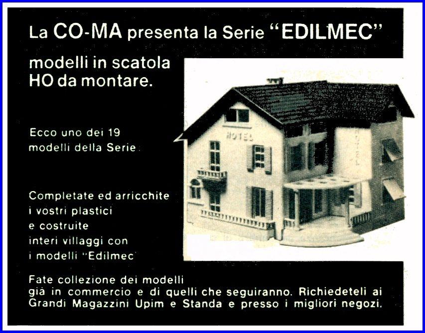 Un prodotto CO-MA, linea EDILMEC, pubblicizzato il 30 Giugno 1963, all'interno del settimanale TOPOLINO. (http://www.rivarossi-memory.it/Altre_Marche/Edilmec-Coma/Edilmec-Coma.htm)
